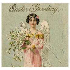 German, gilded, Easter angel postcard posted 1908