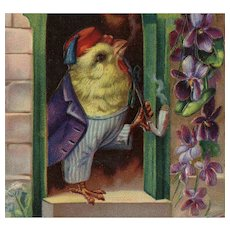 Embossed, gilded, antique Easter postcard of anthropomorphic chick smoking pipe