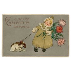 Embossed, unposted, Easter postcard of little girl and dog