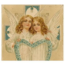 German, Art Nouveau style, Easter postcard of angels mailed 1915