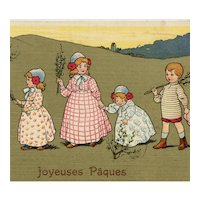 French, antique Easter postcard of children