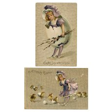 Pair of two glittering, antique, unsigned Ellen Clapsaddle Easter postcards of little girl