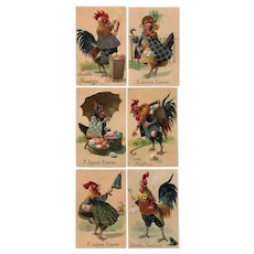 Rare, complete set of 6 antique, funny, anthropomorphic, Easter PFB postcards of roosters and hens