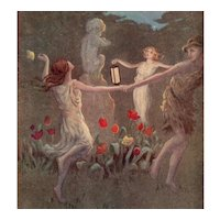 Artist signed Barham postcard with Shakespeare quote and dancers