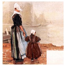Undivided back, unposted, artist signed Cassiers postcard Dutch mother & child
