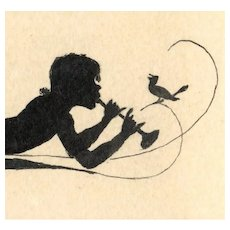 Unposted postcard with silhouette of boy with horn and bird