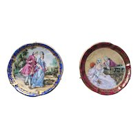 Pair of gilded Limoges miniature plates