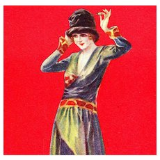 Artist signed, Italian, unposted Art Deco Bompard postcard of glamorous flapper