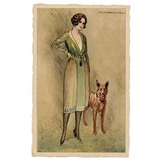 Unposted, Italian, artist signed Corbella postcard of a glamorous woman and her dog