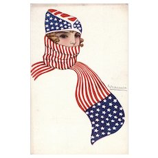Nanni artist signed unposted glamourous woman in red, white and blue