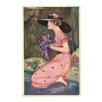 Artist signed Corbella Lady in Pink Postcard