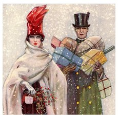 Festive Christmas Bompard Unposted Glamour Woman Postcard