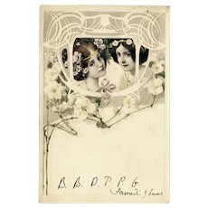 Art Nouveau, M M Vienne postcard of two girls mailed 1906