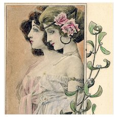 Artist signed Auer Happy New year French Antique Postcard of Glamour women
