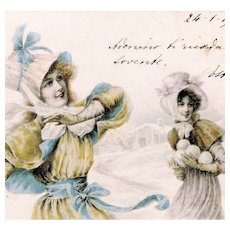 M. M. Vienne Glamour Woman postcard of snowball fight posted in Italy in 1903