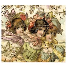 Art Nouveau style, gilded, embossed postcard of three darling girls with French 1925 stamp