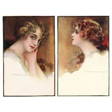 Pair of Italian, unposted, artist signed Corbella glamour woman postcards
