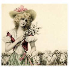 Unposted, undivided back, artist signed Wichera, publisher M M Vienne postcard of shepherdess