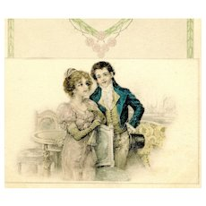 French Art Nouveau style postcard of young couple