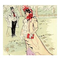 French, undivided back, Art Nouveau, artist signed postcard 'La Promenade' mailed with Italian stamp