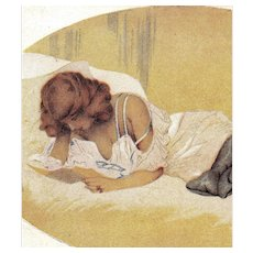Kirchner unposted artist signed postcard woman lying in bed