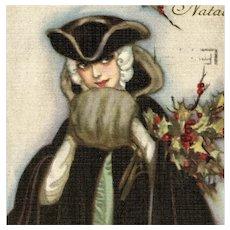 Pair of Italian, Art Deco Glamour Woman Christmas postcards