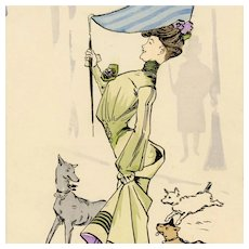 French, artist signed funny postcard of glamorous woman and dogs
