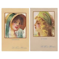 Pair of French, artist signed Dupuis glamour woman postcards