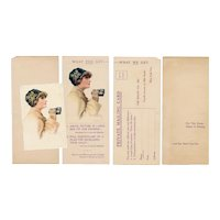 Rare set of a artist signed Desch glamour woman postcard with the Knapp Co. advertisement