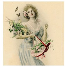 Unposted, undivided back, M. M. Vienne postcard of glamorous woman with flowers