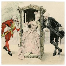 Unposted, undivided back, M M Vienne postcard of a woman and her two courtiers