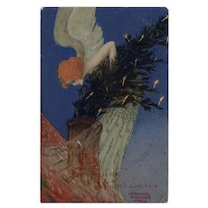Rare, artist signed, undivided back, Raphael Kirchner postcard angel with Christmas tree