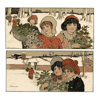 Pair of undivided back, unposted, artist signed Parkinson, M M Vienne postcards of children holding mistletoe & holly berries