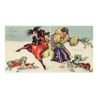 Pair of unposted, Art Deco, artist signed Busi Glamour women with dog/cat