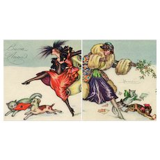 Pair of nposted, Art Deco, Italian, artist signed Busi Glamour women with dog and cat