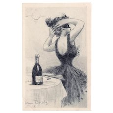French, unposted, undivided back, artist signed Henri Boutet New Year's postcard of glamour woman