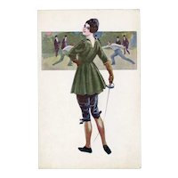 Unposted, Italian postcard of glamorous woman fencing
