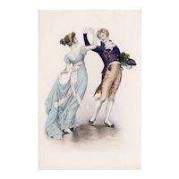 Austrian, unposted M. M Vienne postcard of a couple dancing