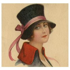 Italian, artist signed Colombo postcard of a glamour lady posted 1921