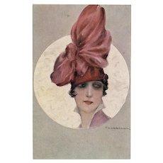 Unposted, Italian, artist signed Corbella postcard of a glamorous woman