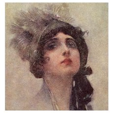 Italian, artist signed Corbella postcard of a glamour woman