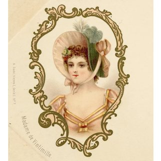 Unposted, undivided back gilded postcard of the mistress of King Louis XV of France