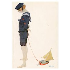 British, artist signed Raphael Kirchner postcard glamour woman sailor mailed 1919