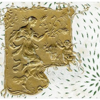 Art Nouveau, unposted, undivided back, gilded, embossed French glamor woman postcard