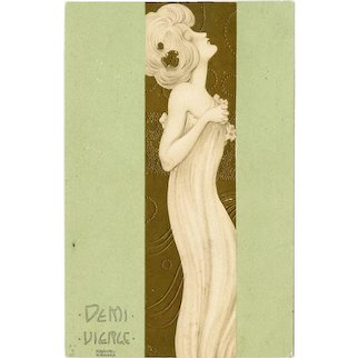Undivided back, French, artist signed Raphael Kirchner postcard of a glamour woman
