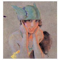 French, Art Deco, artist signed Susan Meunier postcard glamour woman in hat mailed 1920
