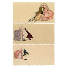 Set of 3 miniature, Art Deco, unposted, artist signed Chiostri postcards