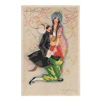Unposted, Art Deco, Italian, artist signed Chiostri postcard masquerade