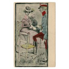Unposted, undivided back, French, artist signed Art Nouveau postcard