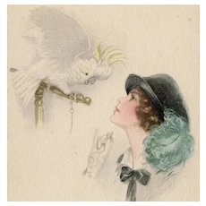 Unposted glamour woman and parrot postcard